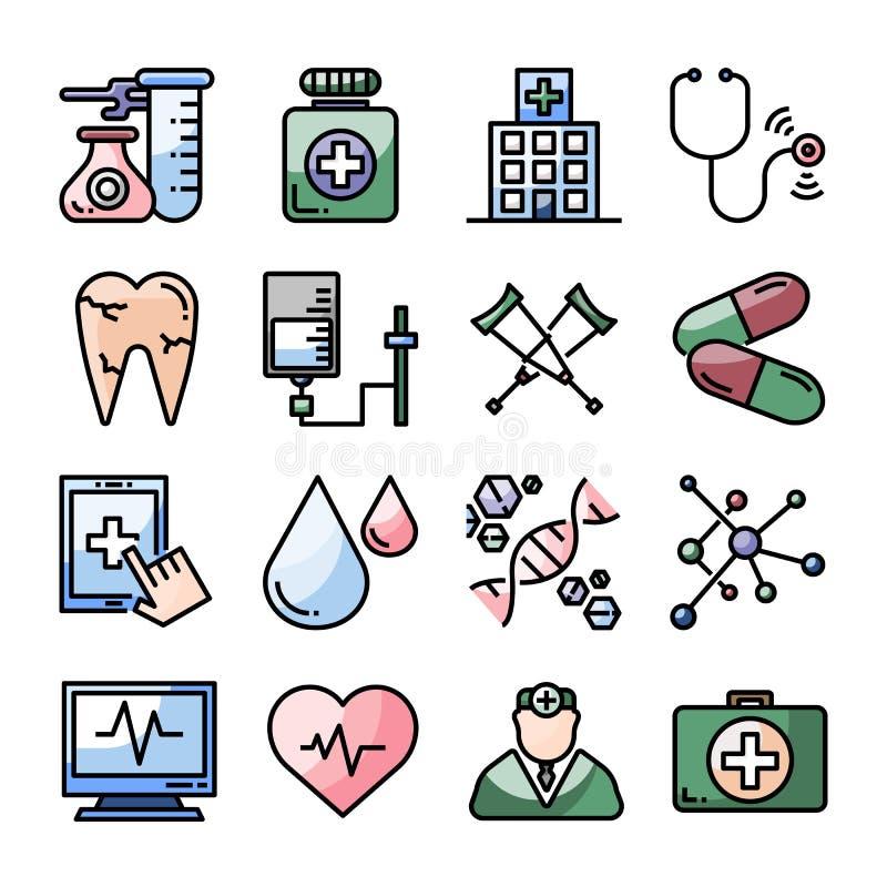 De medische reeks van het gezondheidszorg vectorpictogram stock afbeelding