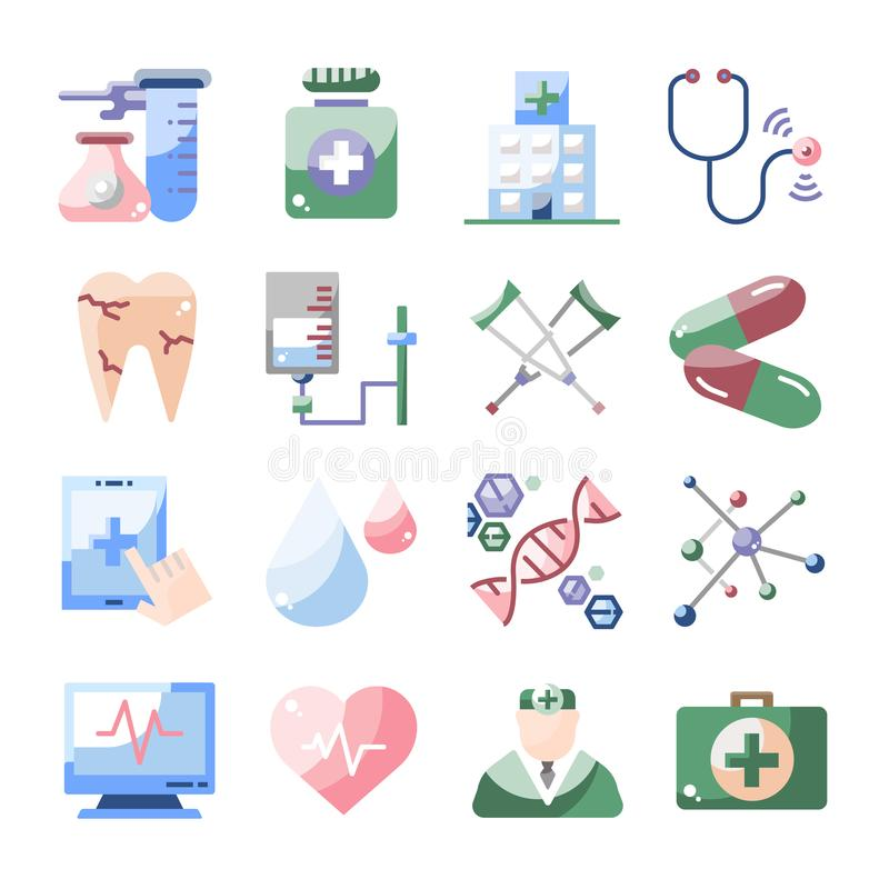 De medische reeks van het gezondheidszorg vlakke vectorpictogram stock foto's