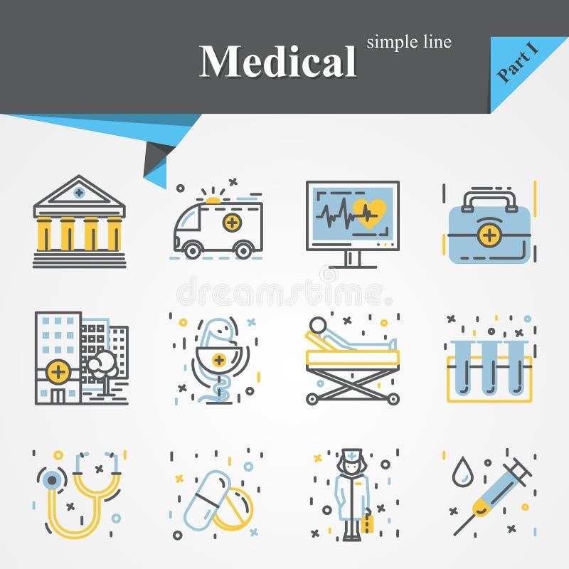 De medische reeks van het overzichtspictogram royalty-vrije illustratie