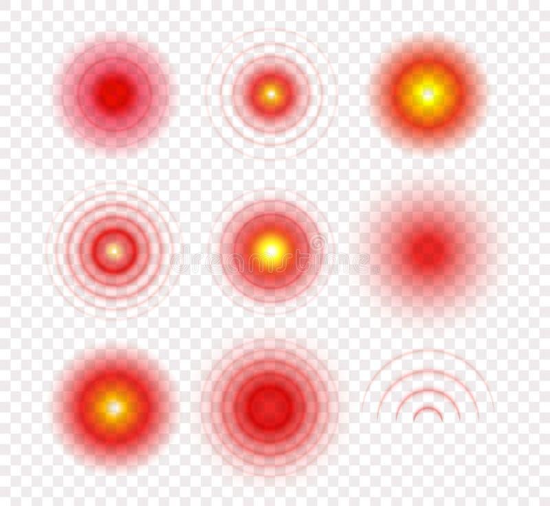 De medische Reeks van het Pictogram Radiale pijncirkels Het malplaatje van het doelembleem Rode en gele gradiënt medische symbole royalty-vrije illustratie