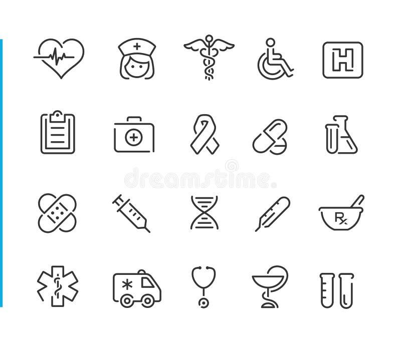 De medische Reeks van Pictogram Vastgestelde //Blue Line royalty-vrije illustratie