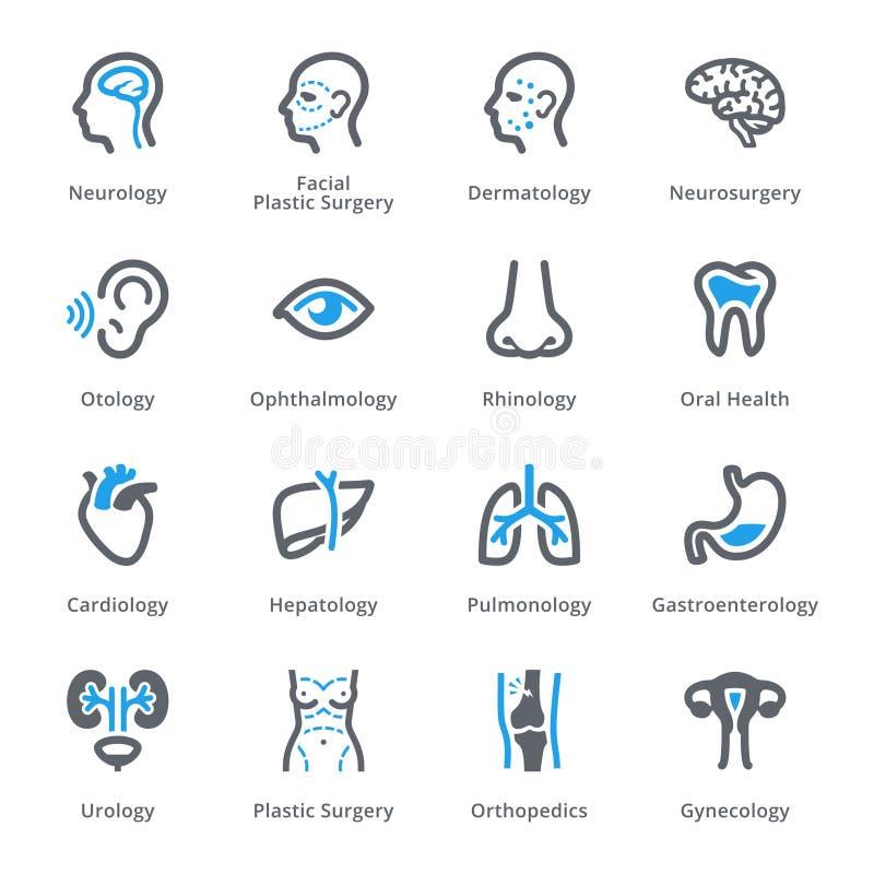 De medische Specialiteitenpictogrammen plaatsen 1 - Sympa-Reeks stock illustratie