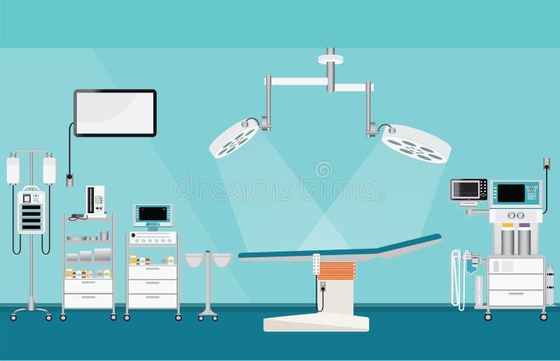 De medische verrichting van de het ziekenhuischirurgie met medische apparatuur vector illustratie