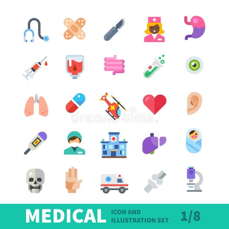 De medische vlakke reeks van het kleurenpictogram royalty-vrije illustratie