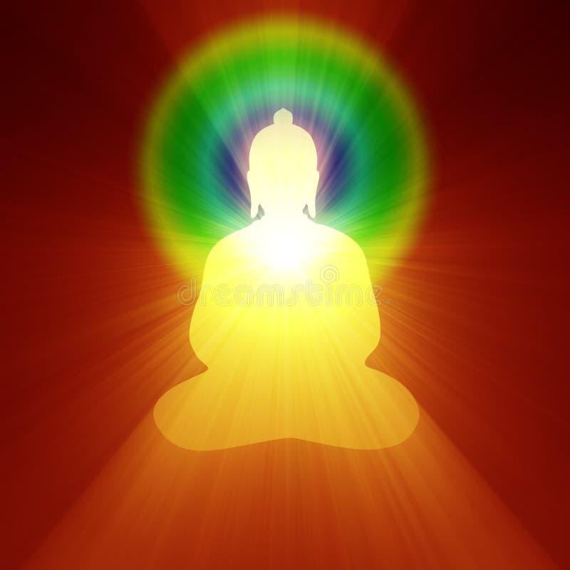 De meditatie binnen lichte halo van Boedha vector illustratie