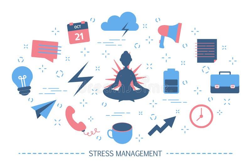 De meditatie, yoga, aard, muziek, kuuroord, geschiktheid helpt om spanning te verhinderen en worden ontspannen Onderbreking tijde stock illustratie