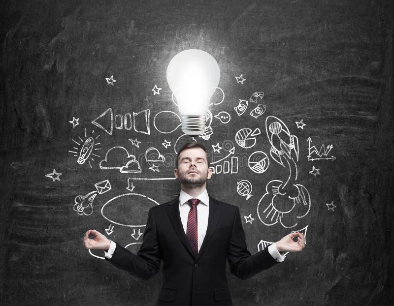 De meditatieve zakenman zoekt nieuwe bedrijfsideeën Getrokken bedrijfspictogrammen op het zwarte schoolbord en een gloeilamp zoal royalty-vrije stock foto's
