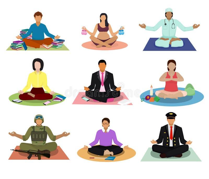 De meditatievector de yoga van de mensenpraktijk mediteren en de karakters die van zwangere vrouw of zakenman mediteren in lotusb royalty-vrije illustratie