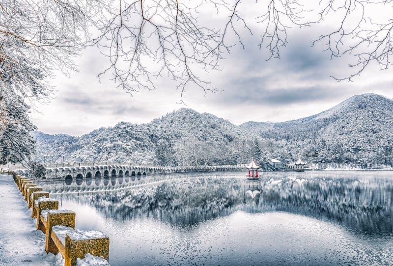 De meer-Sneeuw van sneeuwlulin scène in Onderstel Lu royalty-vrije stock foto
