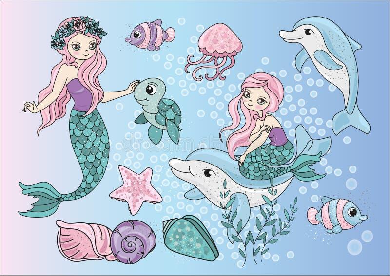 De MEERMINNEN van klemkunsten kleuren vector vastgestelde illustratiebeelden stock afbeelding