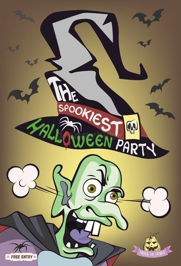 De meest spookiest Halloween-partijaffiche Het karakter van het monster Afschuwelijke tovenaar Vector illustratie stock illustratie