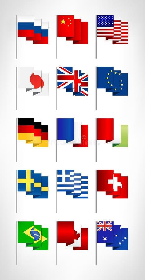 De meeste populaire geplaatste wereldvlaggen vector illustratie