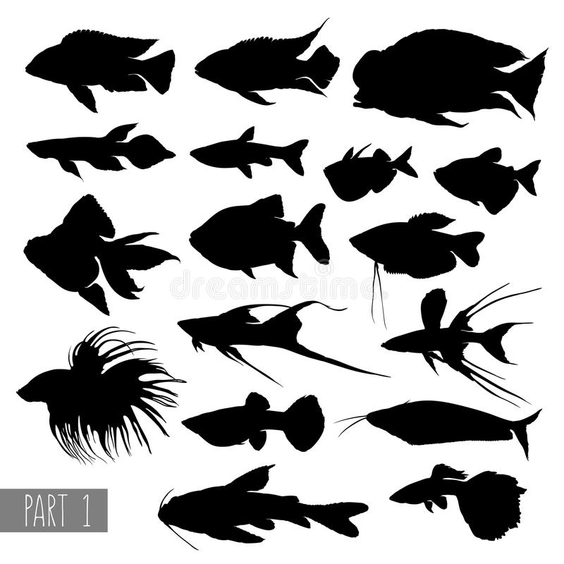 De meeste populaire silhouetten van aquariumvissen vector illustratie