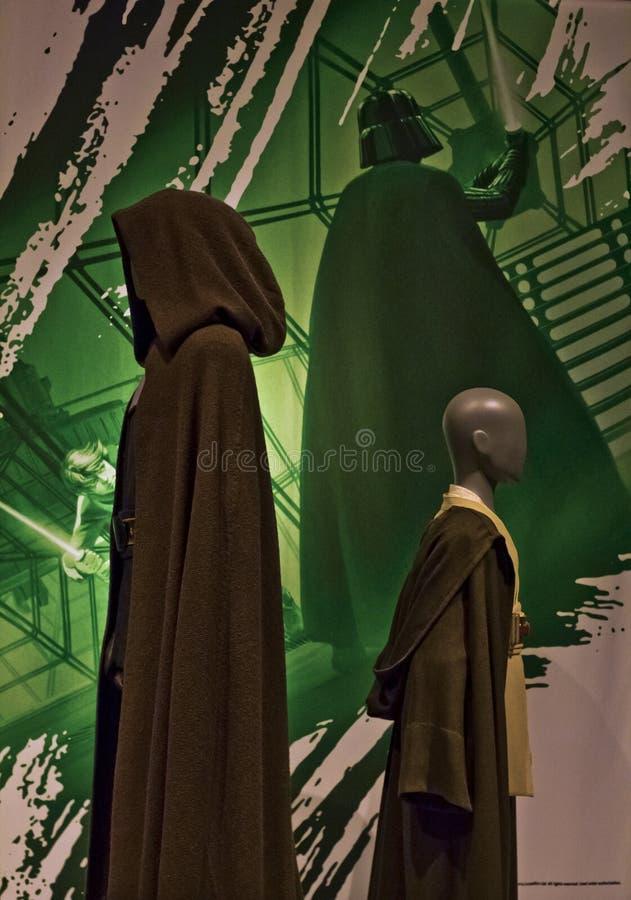 De meester en Padawan van Jedi van het Starwarstentoongestelde voorwerp royalty-vrije stock fotografie