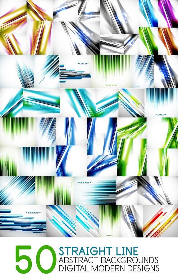 De mega van de de snelheidsmotie van de inzamelings digitale technologie abstracte achtergronden - de ontwerpen van het rechte li vector illustratie
