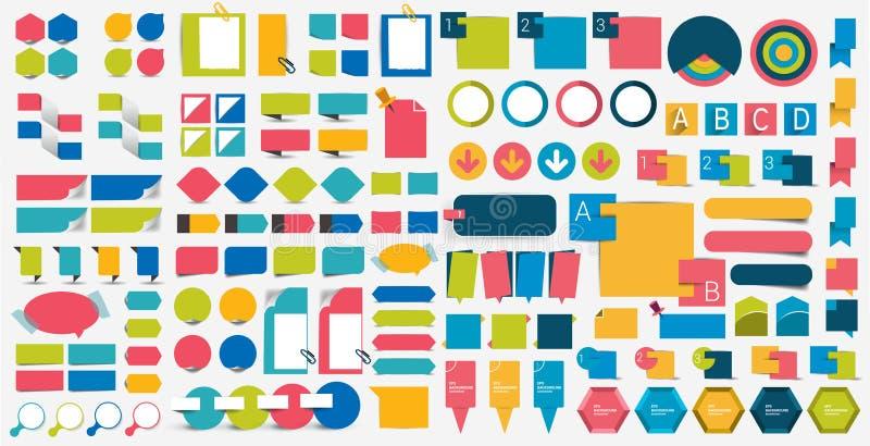 De mega vastgestelde elementen van het infographics vlakke ontwerp, regelingen, grafieken, knopen, toespraak borrelt, stickers stock illustratie
