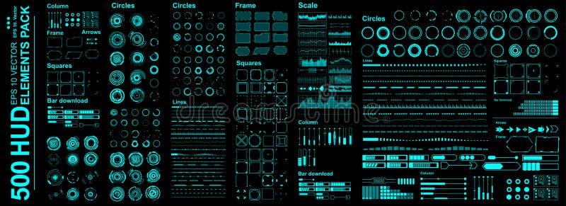 De megaelementen van reeks Futuristische Hud Futuristisch virtueel grafisch aanrakingsgebruikersinterface stock illustratie
