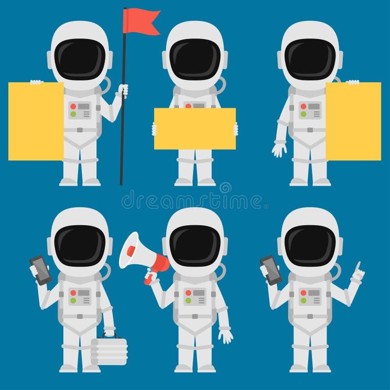 De Megafoon van astronautenholding paper phone vector illustratie