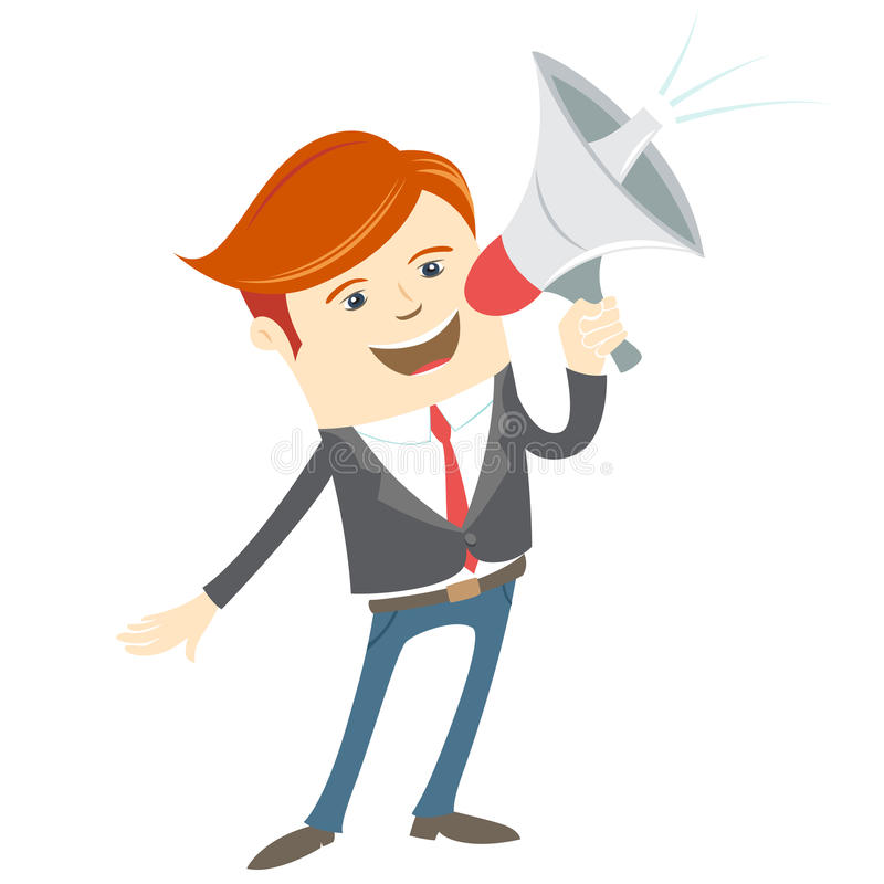 De megafoon van de bureaumens het schreeuwen vector illustratie