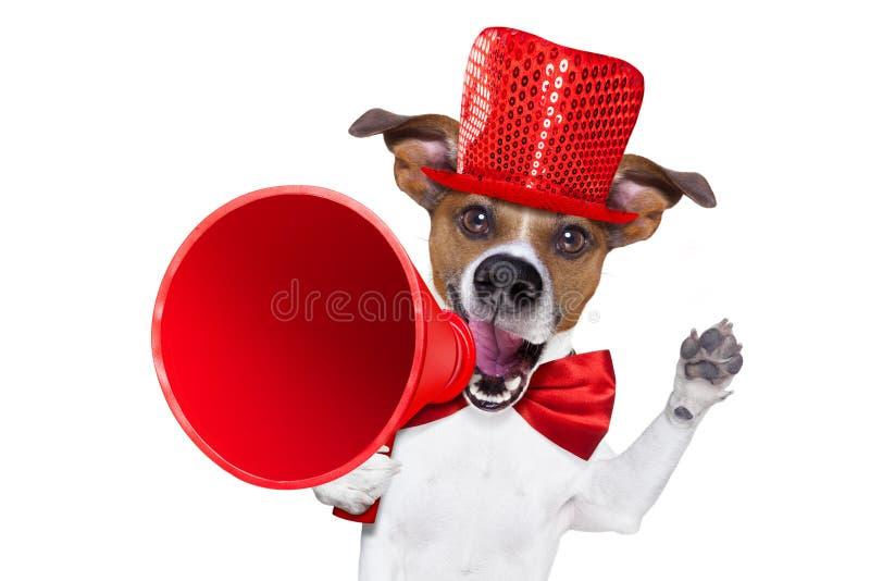 De megafoon van de hondverkoop stock afbeeldingen