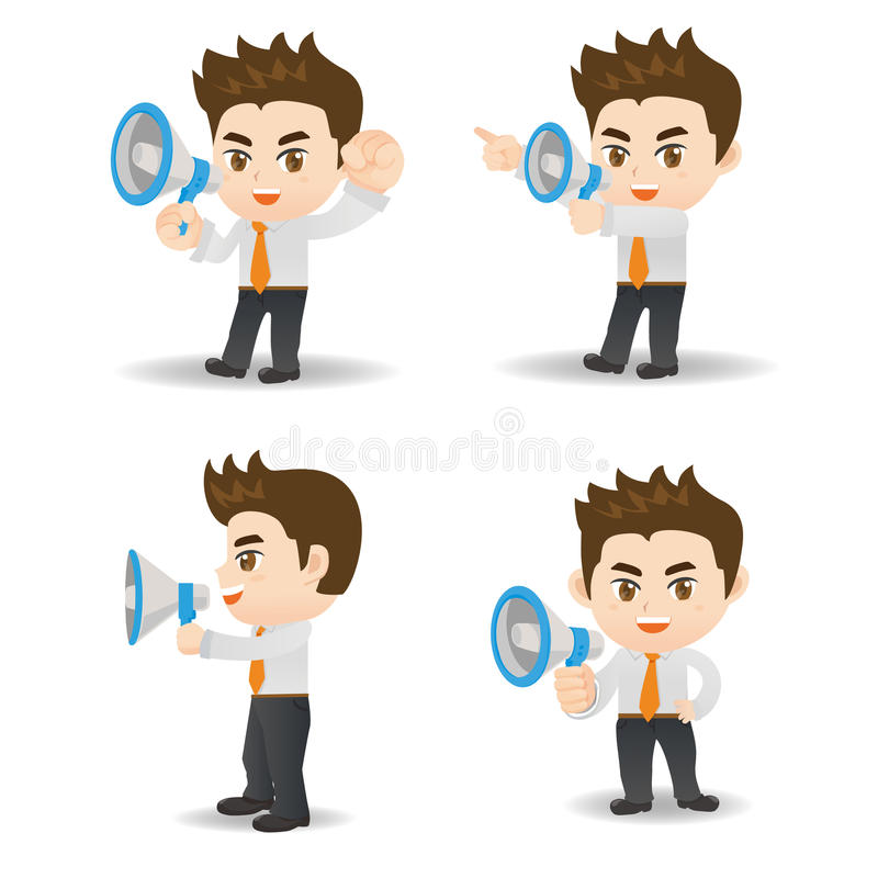 De megafoon van de zakenmanschreeuw stock illustratie