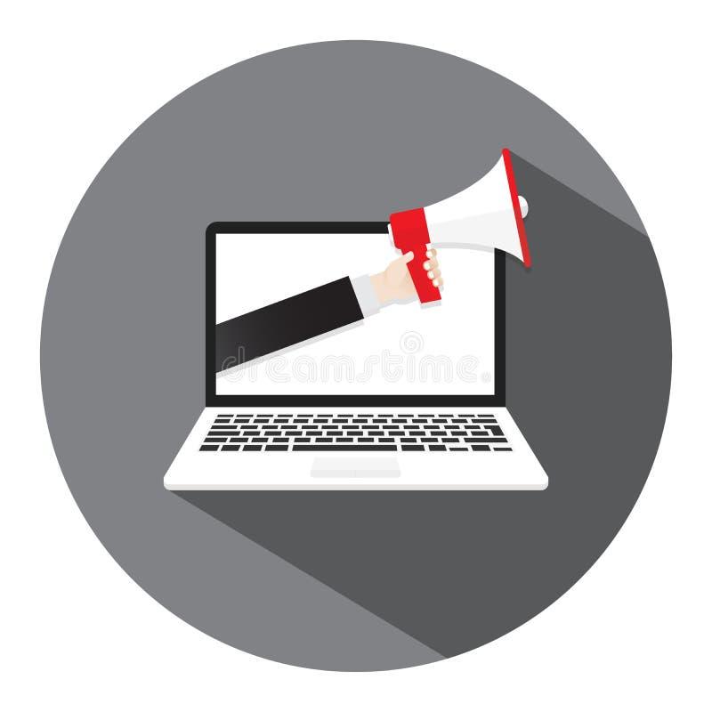 De megafoon van de handholding Laptop het scherm van de notitieboekjecomputer De tekst van de quiztijd in toespraakbel Vector ill stock illustratie
