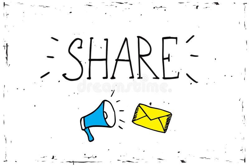 De megafoon van het aandeelpictogram - communicatie en bevorderingsstrategie met sociale media stock illustratie