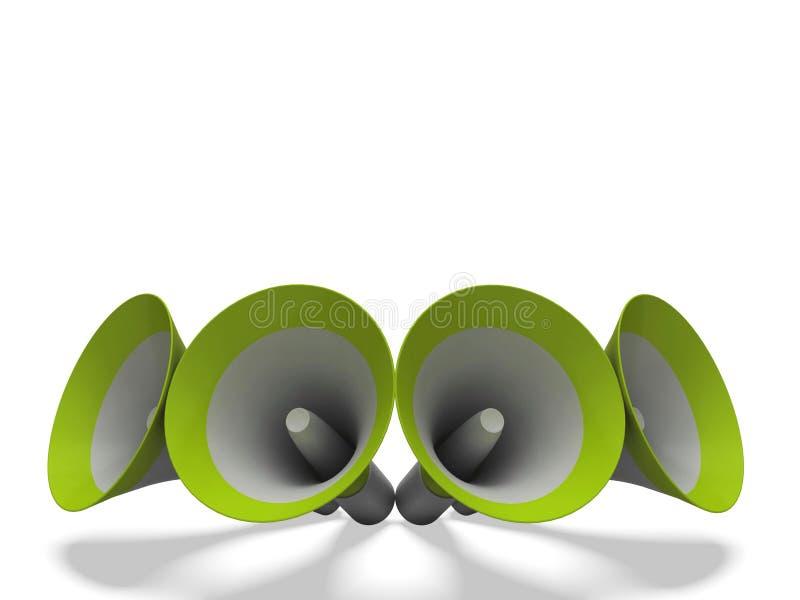 De megafoons toont Aankondigingen het Uitzenden of Loudspea aankondigt royalty-vrije illustratie