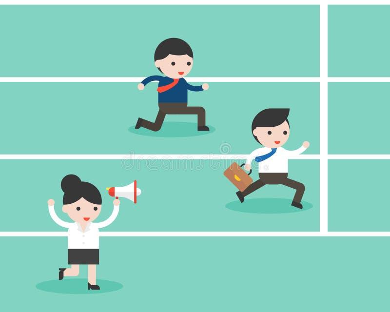De megafoontoejuiching van de onderneemsterholding omhoog twee zakenman het lopen stock illustratie