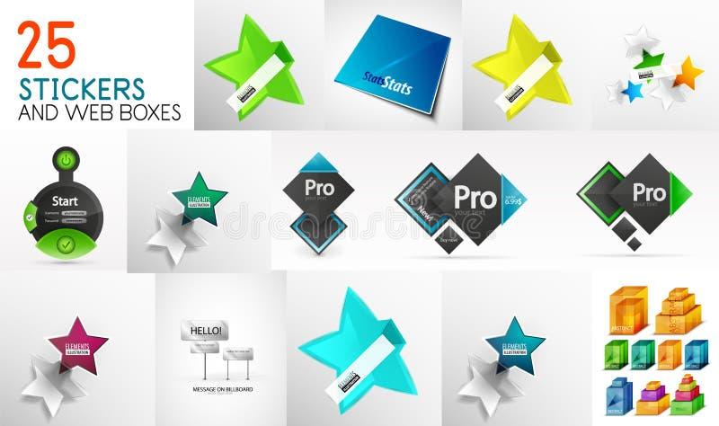De megainzameling van document stickers, prijsetiketten, knoopt dicht en Webontwerpvakjes royalty-vrije illustratie