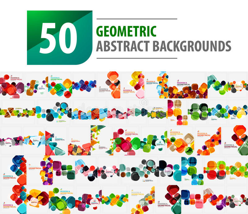 De megainzameling van 50 geometrische abstracte achtergronden leidde tot met moderne patronen - vierkanten vector illustratie