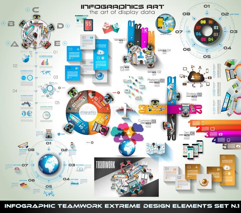 De Megainzameling van het Infographicgroepswerk: brainstormingspictogrammen met Vlakke stijl royalty-vrije illustratie