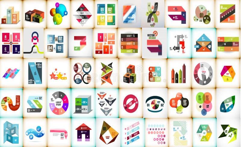 De megainzameling van Infographiclay-outs vector illustratie