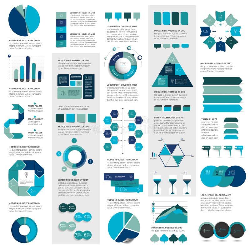 De megareeks grafieken van infographicselementen, grafieken, cirkelgrafieken, diagrammen, toespraak borrelt stock illustratie