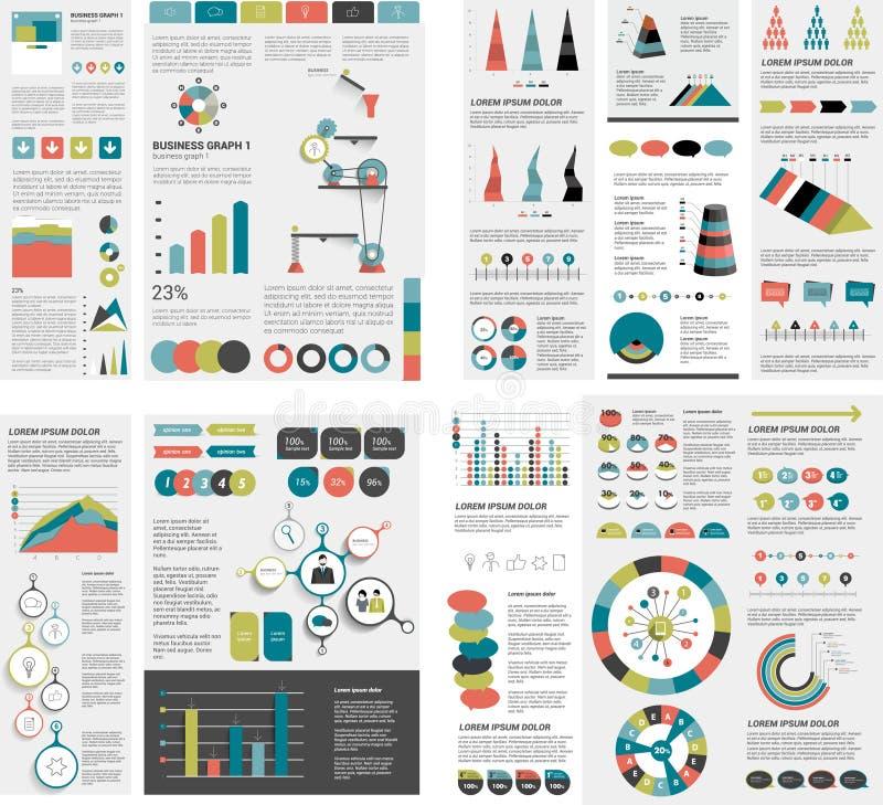 De megareeks grafieken van infographicselementen, grafieken, cirkelgrafieken, diagrammen, toespraak borrelt Vlak en 3D ontwerp vector illustratie