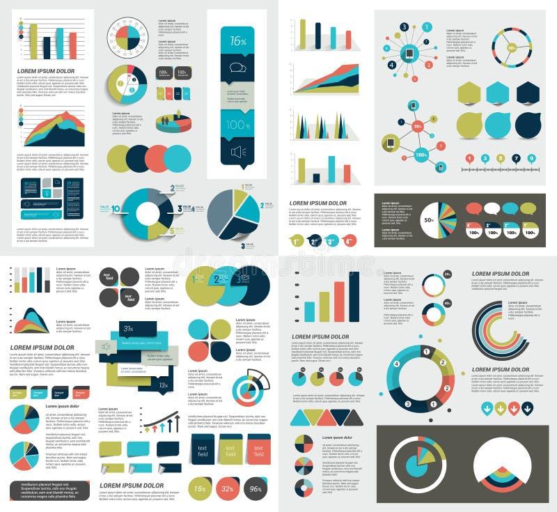 De megareeks grafieken van infographicselementen, grafieken, cirkelgrafieken, diagrammen, toespraak borrelt Vlak en 3D ontwerp stock illustratie