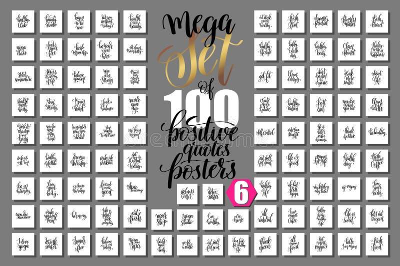 De megareeks van 100 overhandigt het van letters voorzien citaten over geschiktheid en gezond vector illustratie