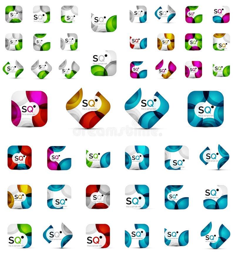 De megareeks vierkante banners leidde tot met overlappende geometrische vormen - kleurrijke cirkels royalty-vrije illustratie