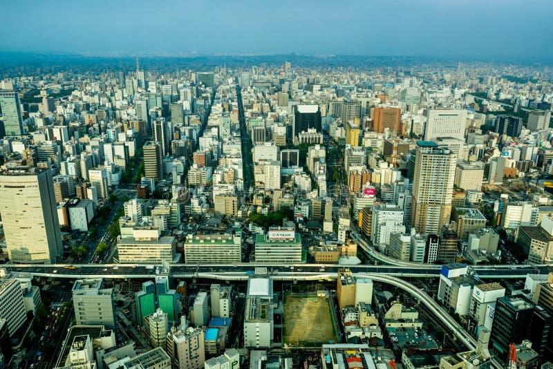 De Megastad van de Meningsnagoya van het horizonpanorama van het Vierkant van het Binnenland stock afbeelding