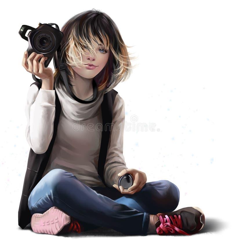 De meisje-fotograaf treft voor het schieten voorbereidingen royalty-vrije illustratie
