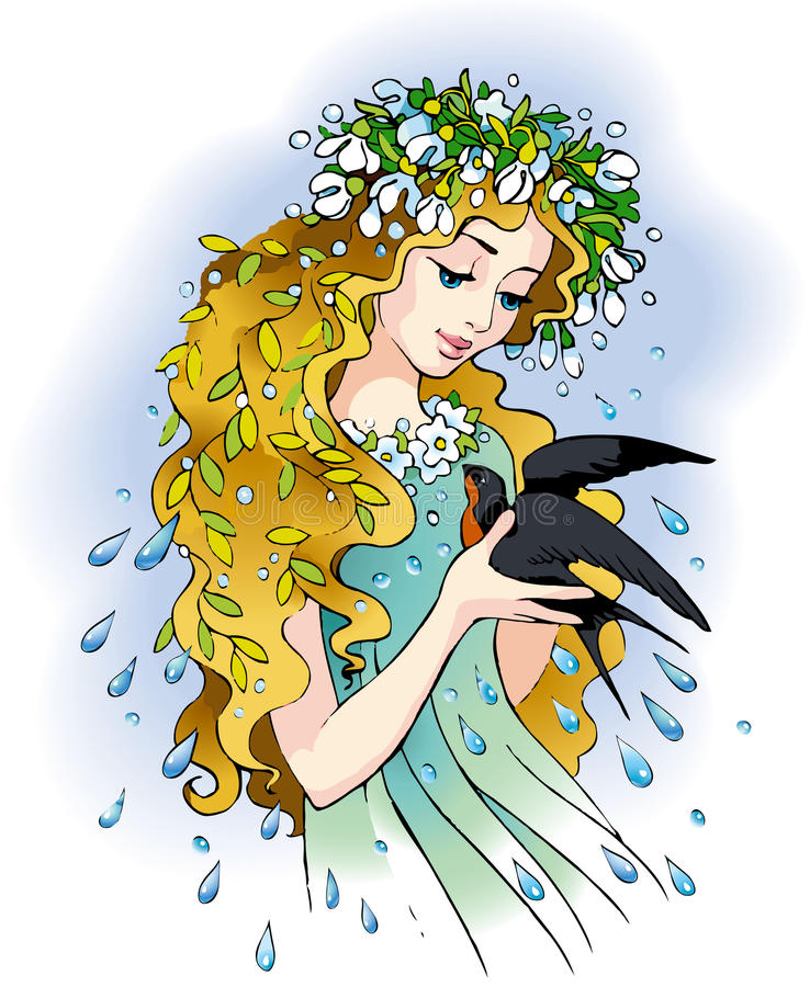 De meisje-lente royalty-vrije illustratie