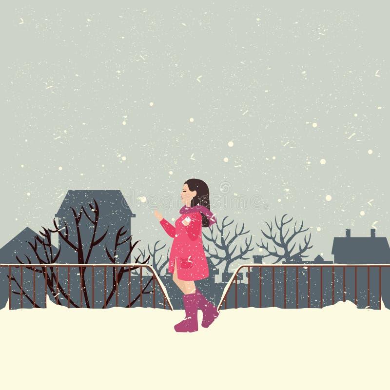 De meisjes die jasje in sneeuw dragen genieten van koud weer vector illustratie
