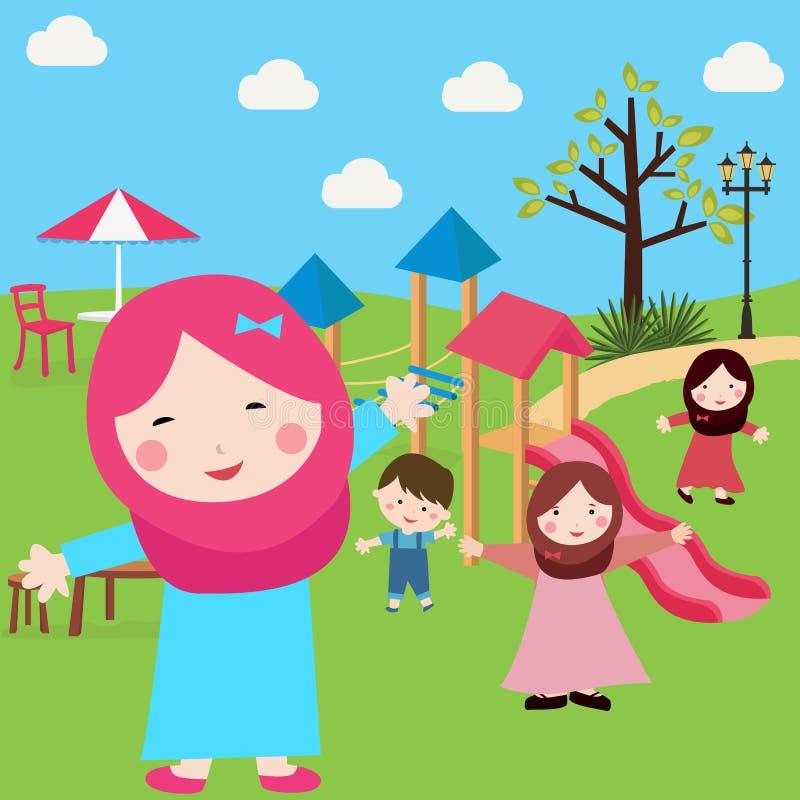 De meisjes en de jongens die van de jonge geitjesislam pret in park hebben die sluier met glijdende boom dragen royalty-vrije illustratie