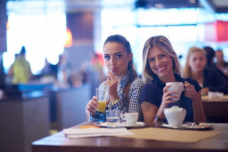 De meisjes hebben kop van koffie in restaurant royalty-vrije stock fotografie