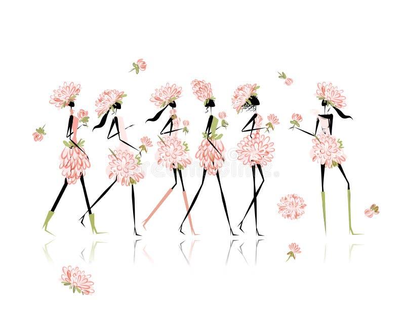 De meisjes kleedden zich in bloemenkostuums, kippenpartij voor vector illustratie