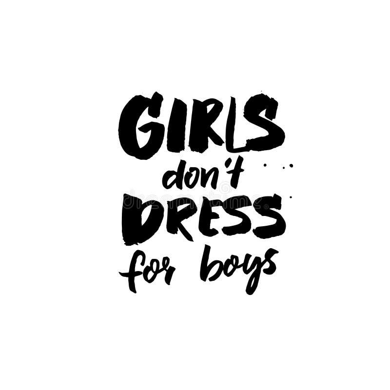 De meisjes trekken de kleding van ` t voor jongens aan Borstel het van letters voorzien inschrijving voor t-shirts en kaarten Fem vector illustratie