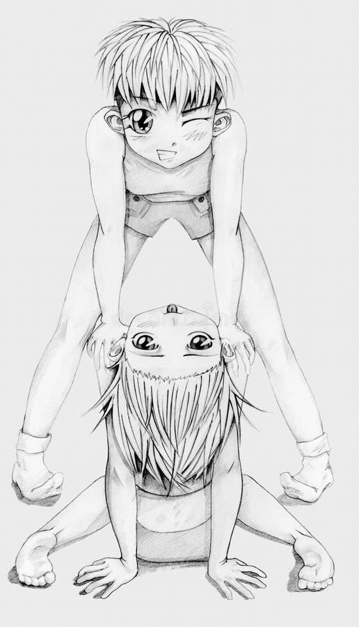 De meisjes van Anime stock fotografie