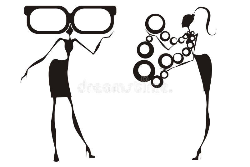 De meisjes van de aantrekkingskracht met toebehoren vector illustratie