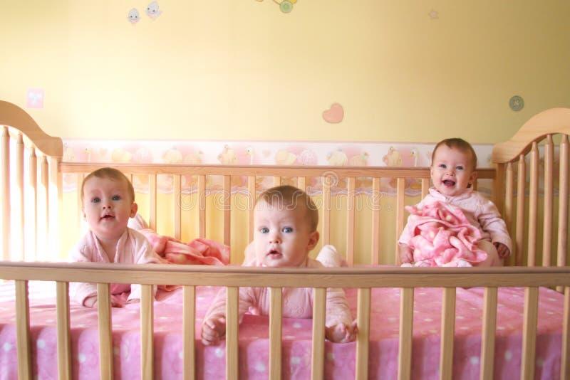 De Meisjes van de baby in Voederbak - Drietallen royalty-vrije stock afbeeldingen