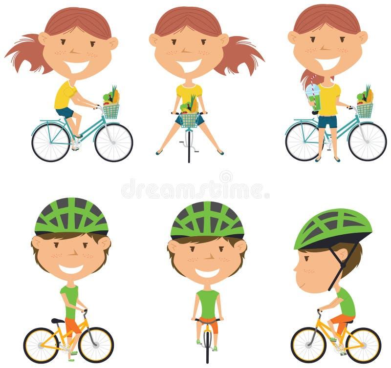 De meisjes van de fietsruiter vector illustratie